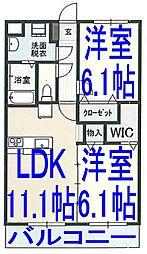 栃木県小山市犬塚1丁目の賃貸マンションの間取り