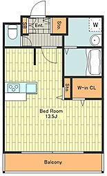 多摩都市モノレール 甲州街道駅 徒歩6分の賃貸マンション 1階ワンルームの間取り