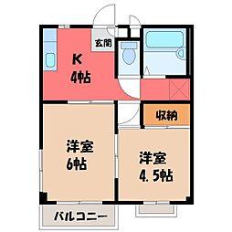 栃木県宇都宮市雀の宮7の賃貸アパートの間取り