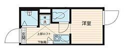QUQURI北新宿 地下1階ワンルームの間取り