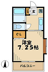 神奈川県厚木市妻田北1丁目の賃貸アパートの間取り