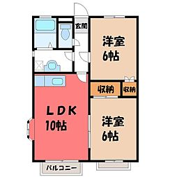 栃木県宇都宮市宮の内1丁目の賃貸アパートの間取り