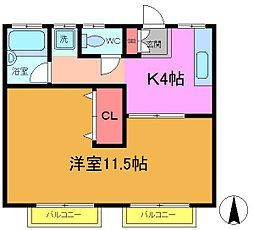 サンコーポヤマブン[2階]の間取り