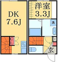 JR総武線 西千葉駅 徒歩10分の賃貸アパート 2階1DKの間取り