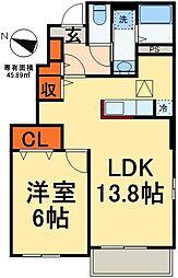 JR総武線 稲毛駅 バス28分 こてはし第2下車 徒歩1分の賃貸アパート 1階1LDKの間取り