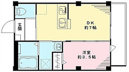 都営三田線 春日駅 徒歩7分の賃貸マンション 2階1DKの間取り