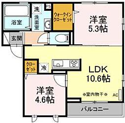 JR相模線 下溝駅 徒歩8分の賃貸アパート 2階2LDKの間取り