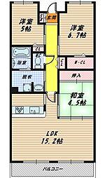 リバーカントリーガーデン京橋[21階]の間取り