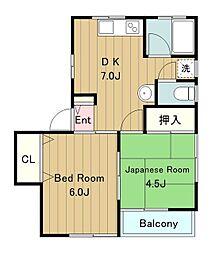 第1富士ハイムC棟[106号室]の間取り