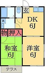 千葉県千葉市緑区あすみが丘2の賃貸アパートの間取り
