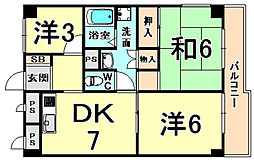 ハイツ尼崎A棟 5階3DKの間取り