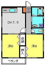 神奈川県横浜市港南区日野1丁目の賃貸アパートの間取り
