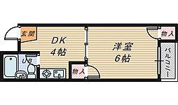 カーサ宿院[4階]の間取り