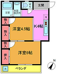 東京都葛飾区高砂8丁目の賃貸マンションの間取り