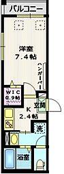 京王線 千歳烏山駅 徒歩6分の賃貸マンション 3階1Kの間取り