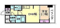 SERENiTE福島シェルト 6階1DKの間取り