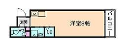 KOUMASTER NISHIKUJO 4階ワンルームの間取り