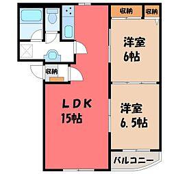 栃木県栃木市平柳町3丁目の賃貸マンションの間取り