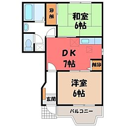 栃木県小山市大字横倉新田の賃貸アパートの間取り