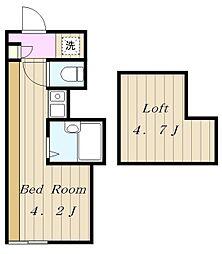 小田急小田原線 生田駅 徒歩10分の賃貸アパート 2階ワンルームの間取り