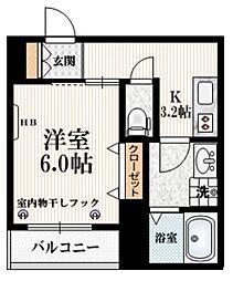 京王井の頭線 東松原駅 徒歩6分の賃貸マンション 2階1Kの間取り