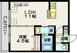 東急目黒線 西小山駅 徒歩11分の賃貸マンション 2階1LDKの間取り