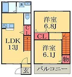 [テラスハウス] 千葉県千葉市中央区宮崎町 の賃貸【/】の間取り