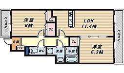大阪府堺市西区鳳北町9丁の賃貸アパートの間取り