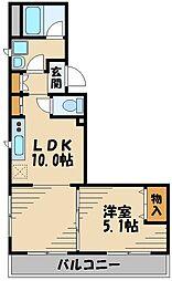 コンフォート武蔵野 2階1LDKの間取り