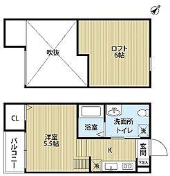 南海線 湊駅 徒歩9分の賃貸アパート 1階1Kの間取り