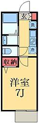 千葉都市モノレール 桜木駅 徒歩4分の賃貸アパート 2階1Kの間取り