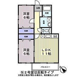 ピュアプリンスII 2階2LDKの間取り