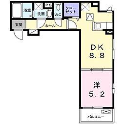 NISHIKAWA 1階1DKの間取り
