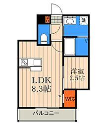 JR埼京線 与野本町駅 徒歩5分の賃貸マンション 3階1LDKの間取り