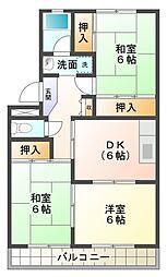 愛知県岡崎市大平町字西上野の賃貸マンションの間取り