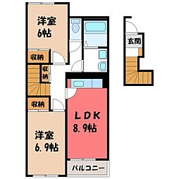栃木県栃木市大平町真弓の賃貸アパートの間取り