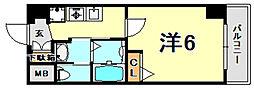 エステムコート神戸山手ステーションデュオ 2階1Kの間取り