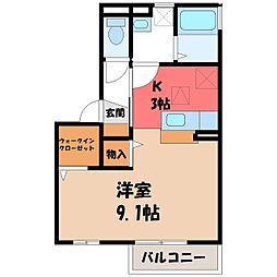 栃木県宇都宮市西の宮2丁目の賃貸アパートの間取り