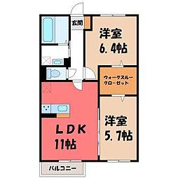 メゾン ド キャレ II 2階2LDKの間取り
