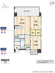 JR鹿児島本線 吉塚駅 徒歩12分の賃貸マンション 4階2LDKの間取り