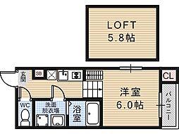 大阪府大阪市東住吉区田辺3丁目の賃貸アパートの間取り