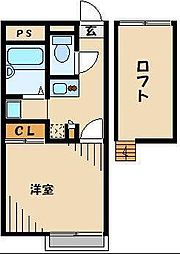 JR高崎線 北本駅 徒歩17分の賃貸アパート 2階1Kの間取り