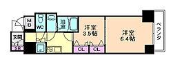 レジュールアッシュ梅田アクシア[4階]の間取り