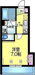 へーベルメゾン亀戸 3階1Kの間取り