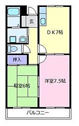 アドバンテージ三宅II[2階]の間取り