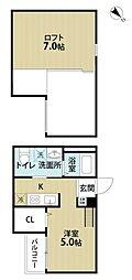 南海高野線 堺東駅 徒歩18分の賃貸アパート 2階1Kの間取り