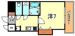 阪神本線 芦屋駅 徒歩7分の賃貸マンション 1階1Kの間取り