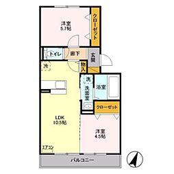 埼玉県三郷市泉2丁目の賃貸アパートの間取り