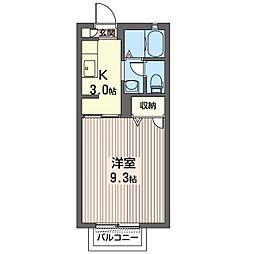 RESIDENCE・TAO C 2階1Kの間取り