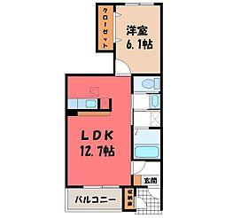 栃木県栃木市大平町西野田の賃貸アパートの間取り